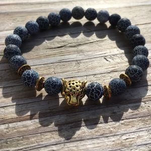 Weathered Agate Gold Panther Bracelet